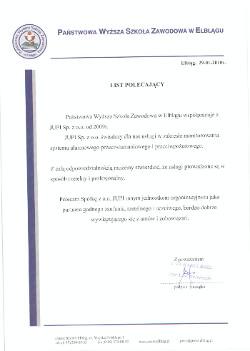 Referencja PWSZ Elbląg dla JUPI Elbląg