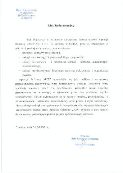 Referencja Sąd Rejonowy Braniewo dla JUPI Elbląg