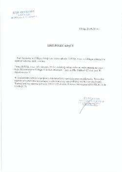 Referencja Sąd Rejonowy Elbląg dla JUPI Elbląg