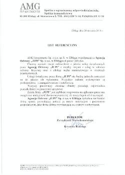 Referencja AMG Investments dla JUPI Elbląg