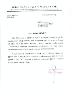 Referencja Izba Skarbowa Olsztyn dla JUPI Elbląg