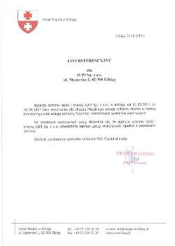 Referencja Urząd Miejski Elbląg dla JUPI Elbląg